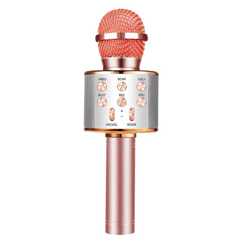 Микрофон беспроводная Bluetooth микрофон, чтобы петь для компьютера в любое время можно петь микрофон караоке - Цвет: Rose Gold