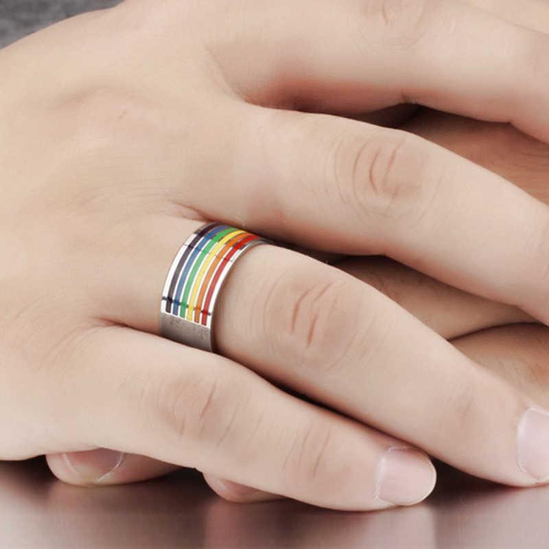 Mens Delle Donne Arcobaleno Colorato Lgbt Pulsera Anello in Acciaio Inox Wedding Band Lebian & Gay Anelli di Trasporto di Goccia