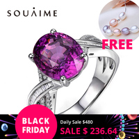 SOUAIME ювелирные украшения оригинальные натуральные 925 Серебряные кольца натуральный кристалл фиолетовый свадебные кольца для женщин