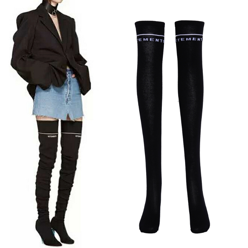 Women Black Letter Print Long Crew Calf Over Knee Leg Tube Socks Slim Fashion