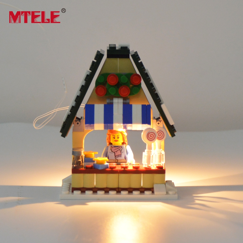 Image 4 - MTELE Led Flash Light Set For Christmas Series Winter Village Market Building Blocks Toy Compatible With Model 10235-in Blocks from Toys & Hobbies