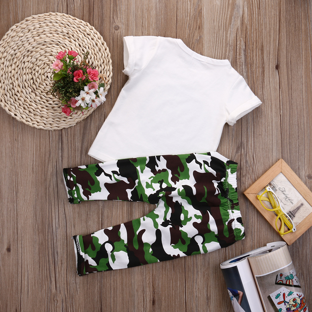 c8661b22968e Stylish Hip Pop Kids Boys Print Tops T shirt + Camouflage Pants Outfits  Clothes 2Pcs Set-in Clothing Sets from Mother & Kids on Aliexpress.com |  Alibaba ...