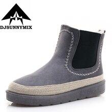Djsunnymix брендовые теплые Для женщин Сапоги и ботинки для девочек зимние женские зимние ботинки 2017 г. плюшевые ботильоны зимние сапоги женская обувь