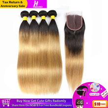HairUGo Peruvian Straight Hair Bundles With Closure 1B/27 Ombre Honey Blonde Human Remy Weave