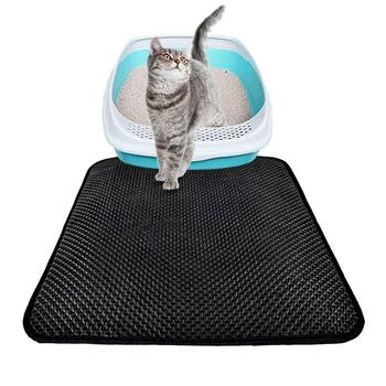 Double-Layer Pets Cats Litter Mat Pad Portable Wearable Supplies EVA Waterproof Trapper Mats Smooth Surface Breathable Holes