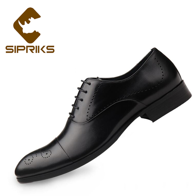 c6d0ef61103 Sipriks Imported Leather Black Carved Brogues Classic Boss Church Work Shoes  Rubber Sole Formal Buesiness Party Evening Shoes