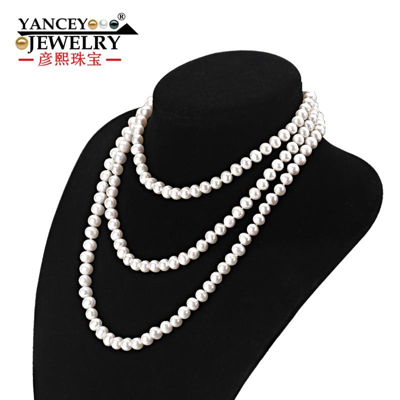 YANCEY модное классическое натуральное пресноводное жемчужное длинное ожерелье длиной 7 8 9 мм почти круглый многослойный