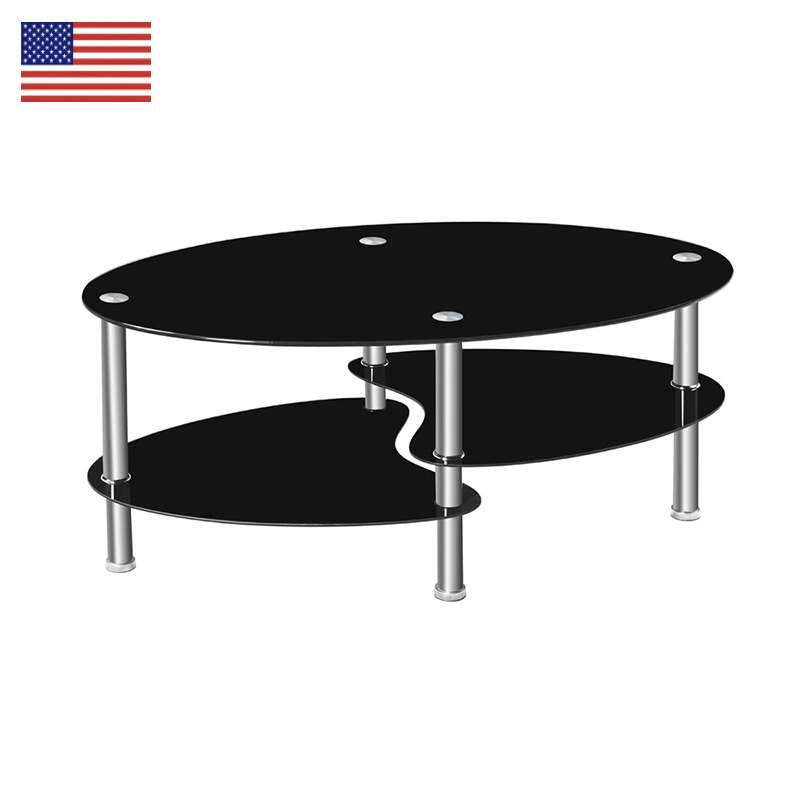 Dual Fishtail Style oval Tempered Glass Coffee Table fashion Living Room Tea table  Furniture