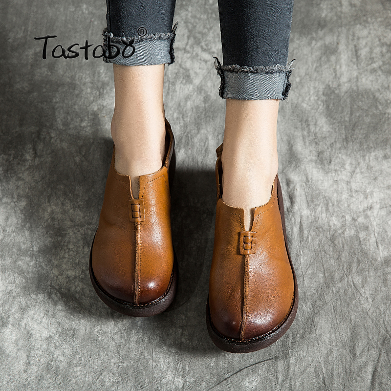 Tastabo Muffin bottom Woman Shoes Flat women s shoes Solid color design shoes Handmade leather women