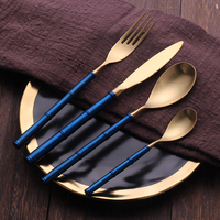 24pieces Gold Matte Vintage Flatware Set 18/10 Stainless Steel Dinner Knife Fork Spoon Creative Bamboo Handle Luxury Cutlery Set