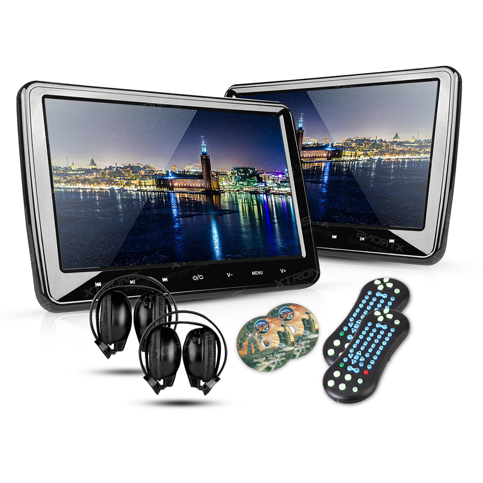 2 10 1 portable car headrest dvd player 1024 600 hdmi. Black Bedroom Furniture Sets. Home Design Ideas