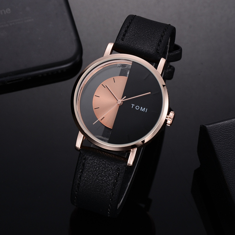 Tomi Brand Brand Men Watches Luxury Rose Black Half Dial Simple Leather Strap Sport Clock Wrist Watch Fashion Male Gift Relogio