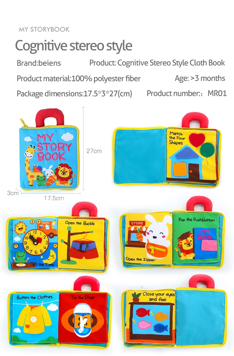 Beiens 3D Soft Cloth Baby Books Animals&Vehicle Montessori Baby Toys For Toddlers Intelligence Development Educational Toy Gifts