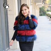 Lady Raccoon Dog Fur Coats Sable Women's Coat Real Fur Leather Winter Overcoat Girl's Fashion Fur Vest Coat For Young Women
