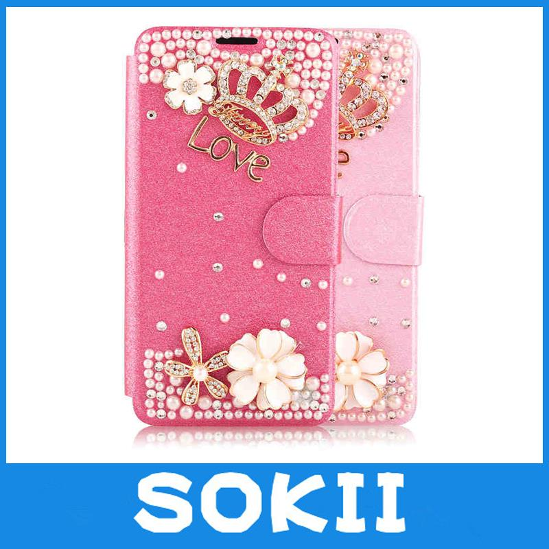 KC For I9150/A5/S4 bling crown flower leather case diamond pearl leather wallet cover G7508Q/A7/J5/S6/ stylish women handbag