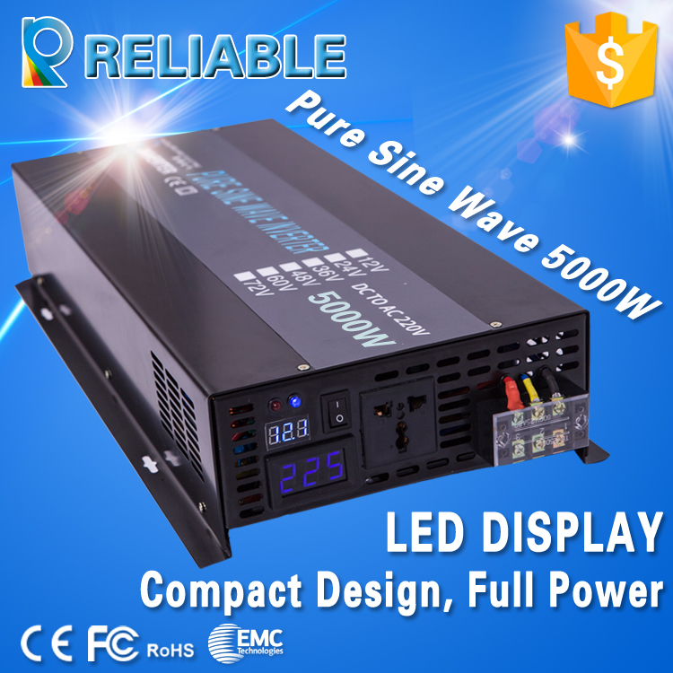 12V/24V/48V/72V DC to 100V/110V/120V/220V/240V AC Converter LED Display 5000W Off Grid Pure Sine Wave Solar Power Inverter v