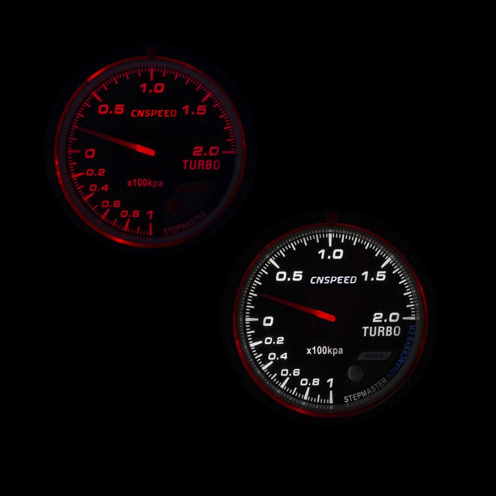 CNSPEED 60MM Car Turbo Boost gauge Red White Lighting BAR Type Black Face Pressure Gauge Car Meter YC101347 in Boost Gauges from Automobiles Motorcycles