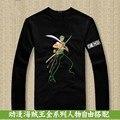 One Piece Zoro Anime algodão de manga comprida T de homens onepiece luffy camiseta