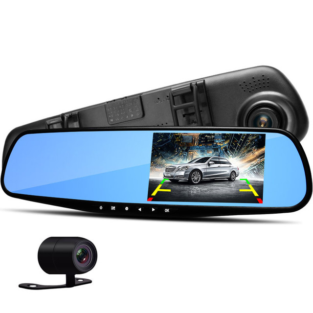 4.3 inch LCD Screen HD Dual Lens Car Camera Video DVR Dash Cam Rearview Mirror Right Support Night Vision Car Black Box