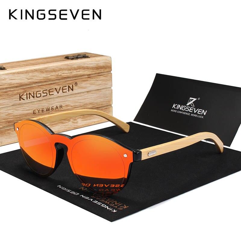 KINGSEVEN Sunglasses Men Bamboo Sun Glasses Women Brand Designer Original Wood Glasses Oculos de sol masculino 7