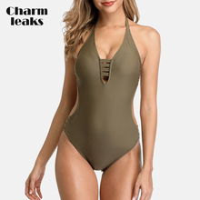цена на Charmleaks Women One Piece Swimsuit Deep V Sexy Bikini Strappy Backless Swimwear Bandaged Cutout Monokini