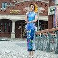 Шанхай История платья Qipao национальная тенденция китайский стиль шелковое платье модальный долго cheongsam Qipao длинное вечернее платье 6 цвета