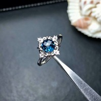 shilovem 925 silver sterling rings natural London Blue topaz open trendy fine Jewelry anniversary gift new mj060606agb