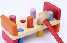 New wooden toy pounding bench juego de encastre Baby educational Free shipping