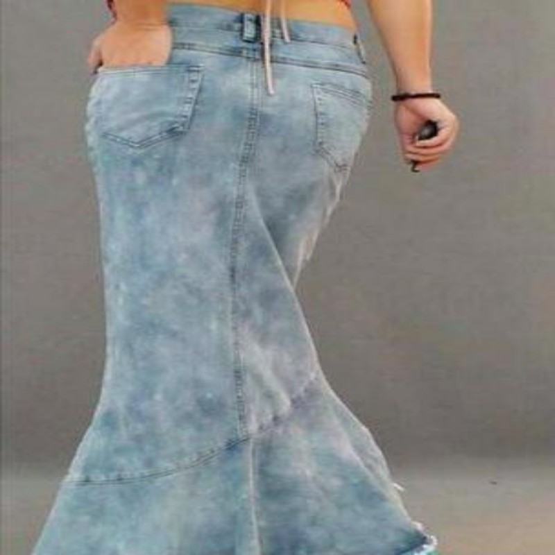 a8bc532c531 Wholesale New Fashion Womens Blue Denim Multi layers Pleated Maxi Long  Skirts Bodycon Fishtail Jean Skirts Woman-in Skirts from Women s Clothing  on ...