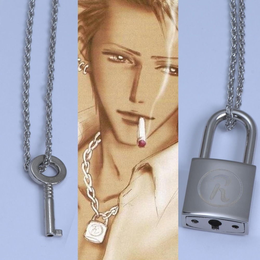 NANA Ren Cosplay Lock Key Necklace Set Cosplay Ai Yazawa Anime Punk Lovers Jewelry Gift Drop Ship
