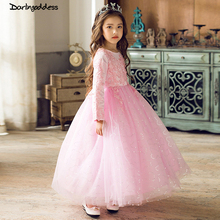 Pink White Lace Flower Girl Dress 2018 For Weddings Ball Gown Kids Evening Party Dress for Girls Communion Dress Pageant Gown princess fluffy dress for girls pageant dress floral kids evening ball gown long girls prom dress pink party dress for girls