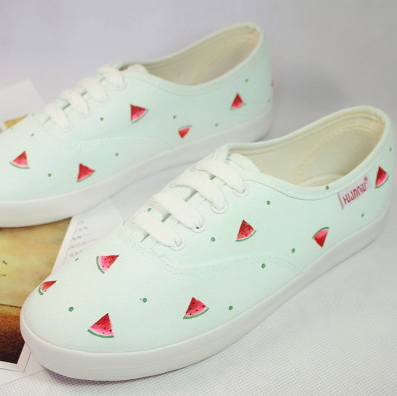 Free shipping 2014 women shoes  Pink mint color white sweet watermelon strawberry canvas women fashion hand-printed canvas shoes
