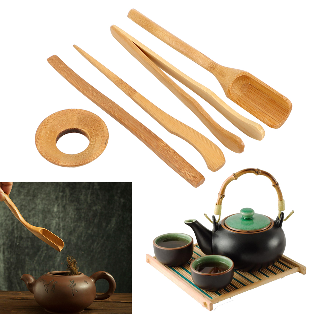 Wooden Teaware Tea Ceremony Utensils Set 5 Pieces/set Bamboo Teaspoons Needle Tweezer Clip Strainer Tong Tube Set