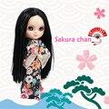 230BL9601 сакура чан ледяной куклы черный длинные волосы centra прощание с кимоно и совместный орган, подарки тапочки, телефонов, стенд, коробка