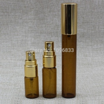 3ML 5ML 10ML Amber Brown Glass Bottle Gold Lid Spray Atomizer Perfume Sample Test Vial Cosmetic Essential Oil Packing 50pcs/Lot