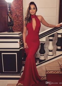 Sexy Dark Red Mermaid Evening Dress 2019 robe de soiree abiye High Neck Backless Prom Dresses Sweep Train Cheap Long Party Gown abendkleider prom gown khaki full sleeves mermaid evening dresses 2019 peplum abiye robe de soiree elegant evening dress long