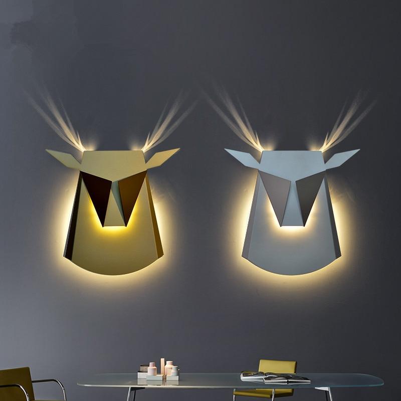 Moderno Lampade Da Parete Testa di Cervo LED Wall Sconce Corridoio Camera Da Letto Studio Cafe Lampade Da Parete A Led abajur Illuminazione Interna luminaria