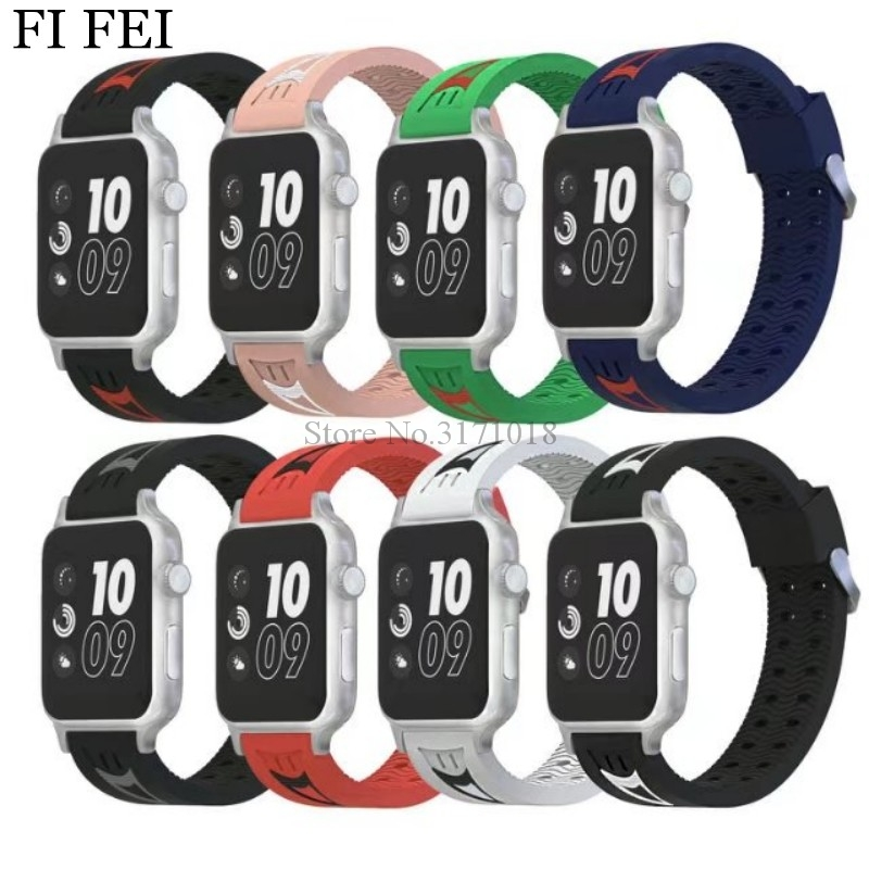FI FEI Sport Soft Silicone band strap For Apple Watch band 42mm 38mm Series 1 2 3 Rubber watchband stainless steel Adapter band jansin 22mm watchband for garmin fenix 5 easy fit silicone replacement band sports silicone wristband for forerunner 935 gps
