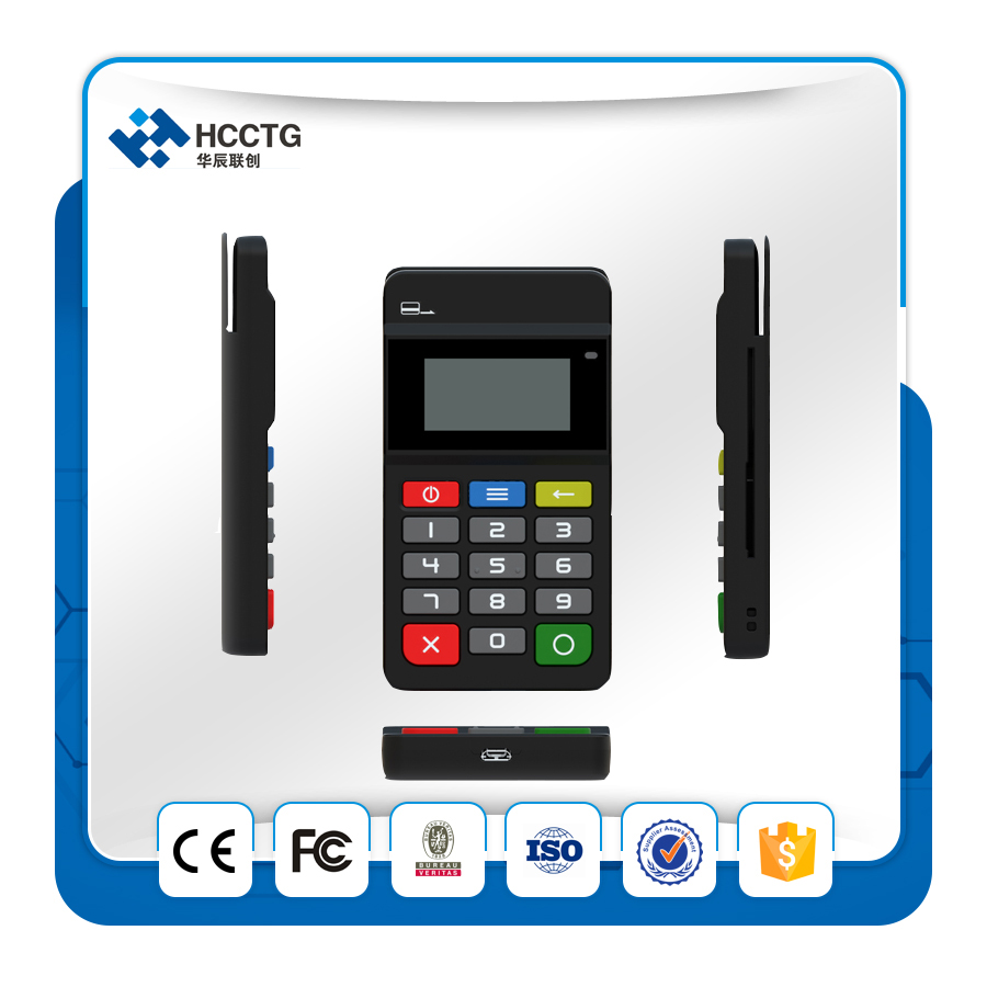 Mobile Payment Terminal PCI + EMV Certified Bluetooth MPOS With Keypad HTY711