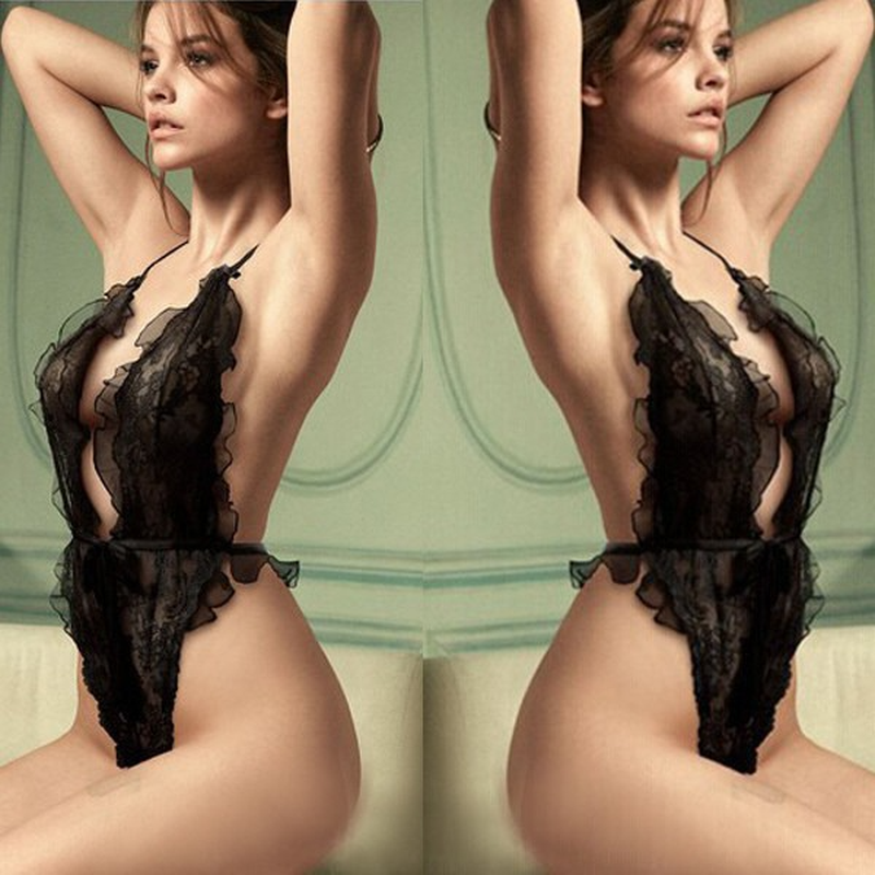 Porno Lingerie Women Sexy Hot Erotic Costumes Lace Perspective Three-Point Underwear G-string Sexy Lingerie Babydoll Mujer Dress