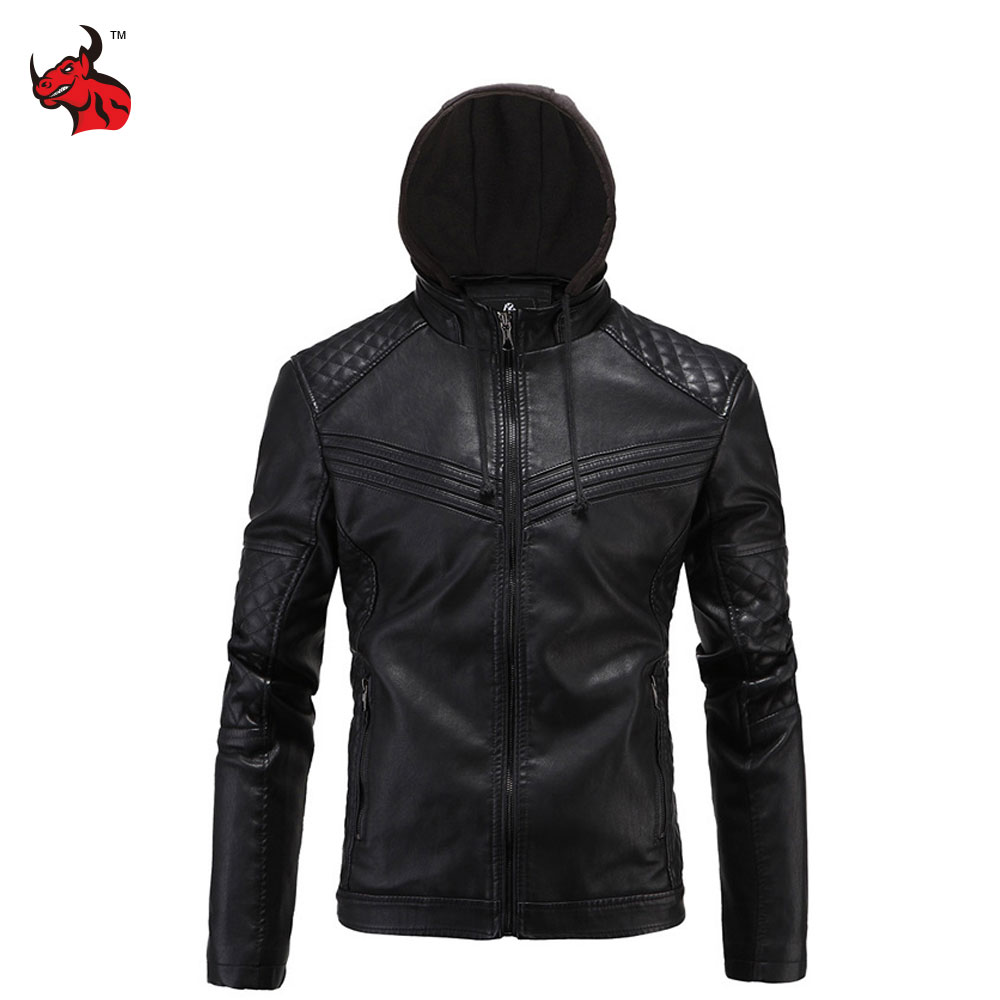 New Retro Vintage Motorcycle Jacket Mens PU Leather Moto Jackets With Hooded Slim Fit Jackets Biker Clasic Quilted Coats Clothes destroyed slim fit biker jeans