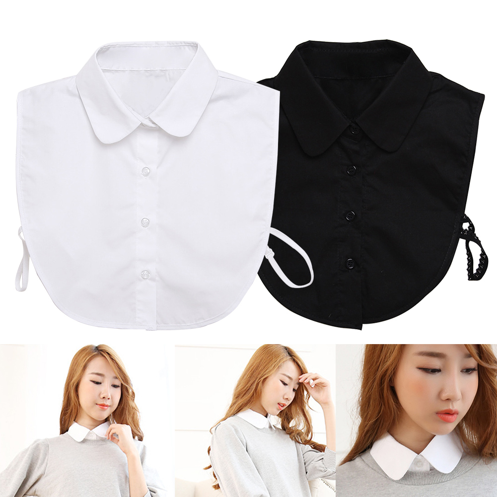Women With Tapes Round Blouse Choker Solid Detachable Collar Button-down Cotton Blend Top Lightweight Shirt Lapel