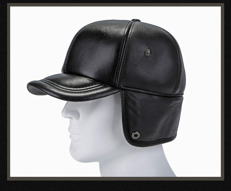 Leather hat sheep skin cap (19)
