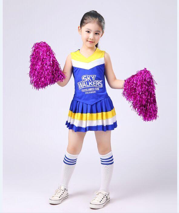 Tjej Cheerleaders kläder Barn Cheerleading Kläder Ballroom Dance Kjol Dropshipping