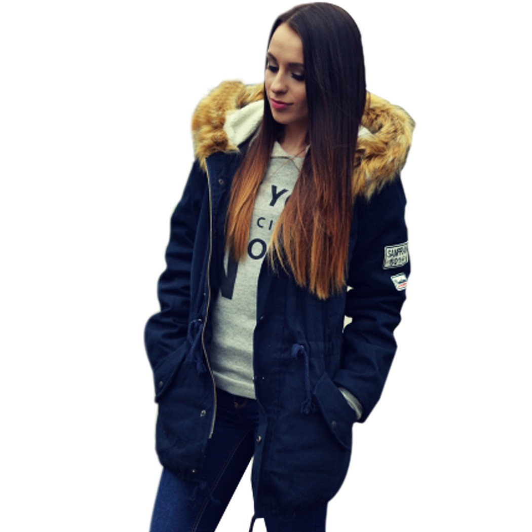 2016 Fashion Women Fur Collar Long Sleeve Hooded Drawstring Parka Jacket Coat