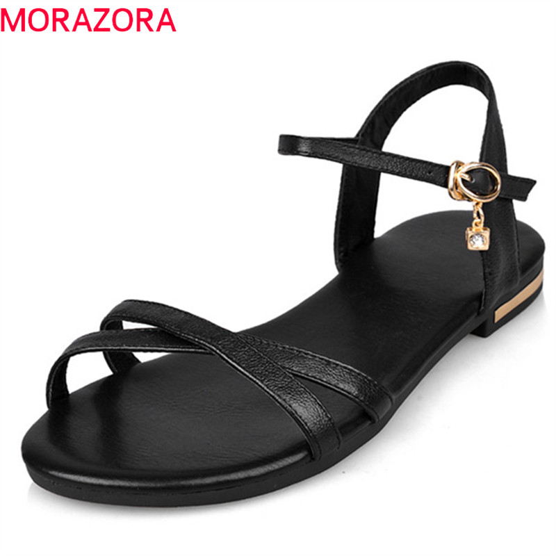 MORAZORA Size 33-46 2018 new arrive women sandals simple buckle summer shoes genuine leather ladies comfortable flat sandals 2018 children s jacket boys girls long coat fur collar large winter coat hooded unisex thicken kids overcoat 5 14y