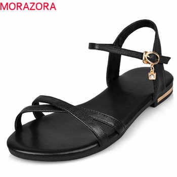 MORAZORA Size 33-46 2019 new arrive women sandals simple buckle summer shoes genuine leather ladies comfortable flat sandals - DISCOUNT ITEM  48% OFF All Category