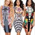 Многоцветный Цветок Печати Рукавов Карандаш Платья Партии Женщин Dress Лето 2017 Цветочные Колен Элегантный Оболочка Dress
