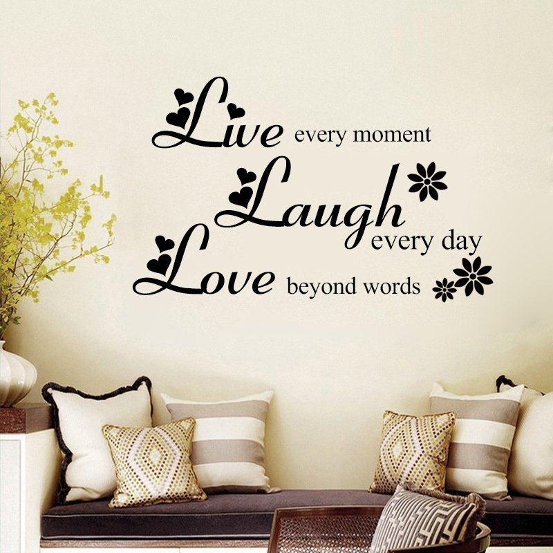 Love Beyond Words Laugh Every Day Live Every Moment Inspirational Quotes Vinyl Removable Wall Stickers Living room Home Decor