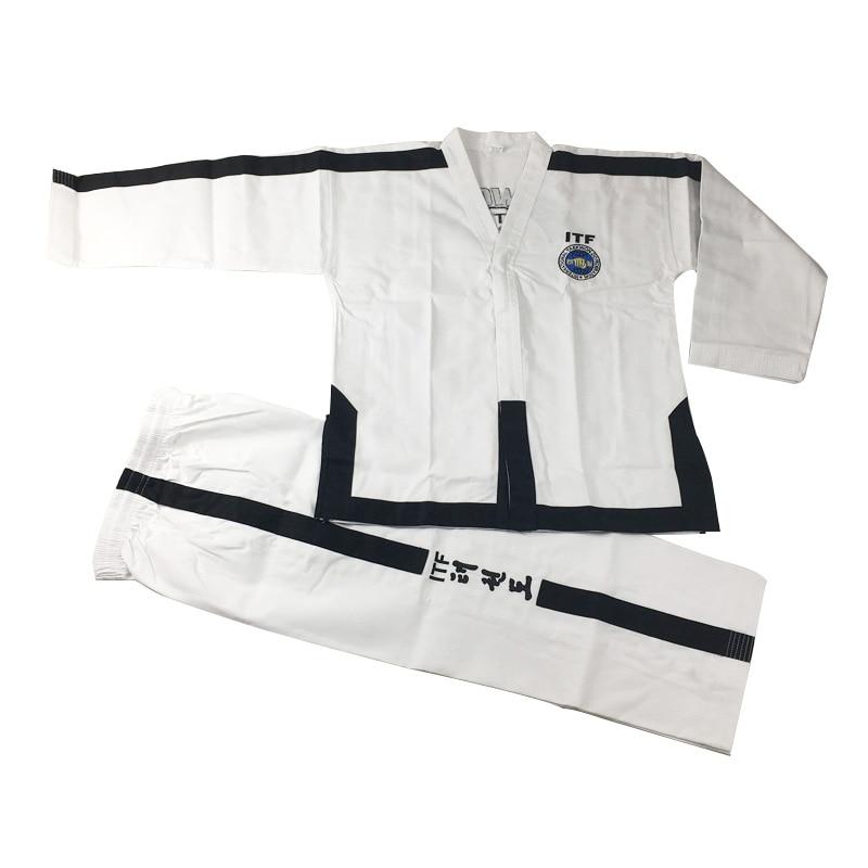 SINOBUDO Taekwondo White Embroidery Standard ITF Uniform For Instructor Master Uniforms Men Taekwondo Uniforms Suit